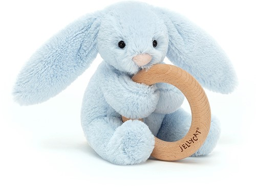 Jellycat Bashful Blue Bunny Wooden Ring Toy - 13cm