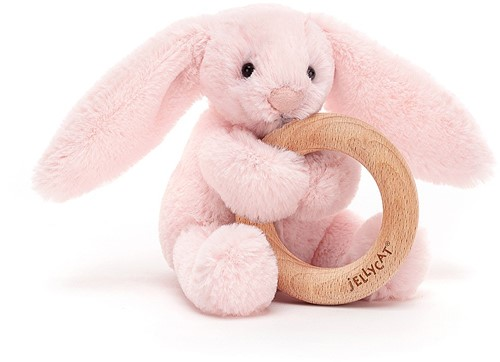 Jellycat Bashful Pink Bunny Wooden Ring Toy - 13cm