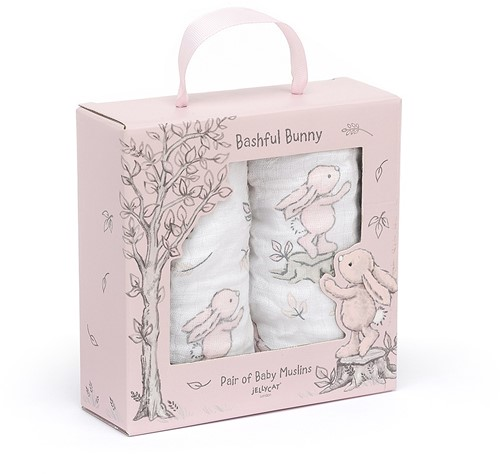 Jellycat Bashful Pink Bunny Pair Of Muslins - 70cm