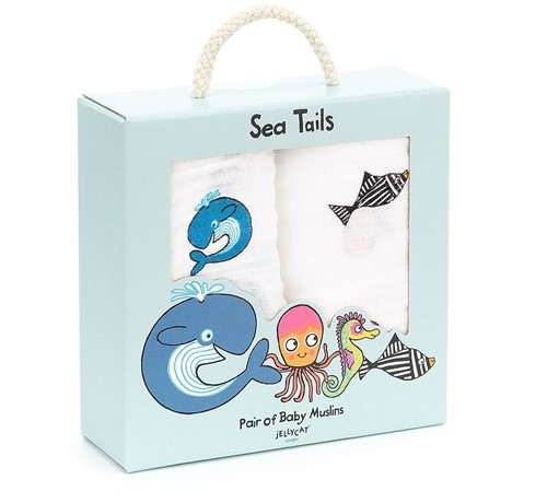 Jellycat Sea Tails Pair of Muslins - 70cm