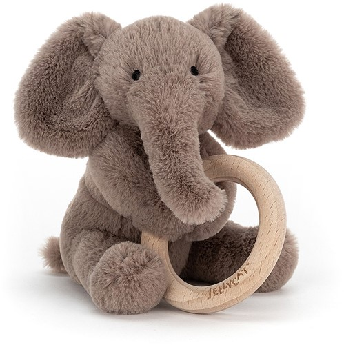 Jellycat Shooshu Elephant Wooden Ring Toy - 14cm