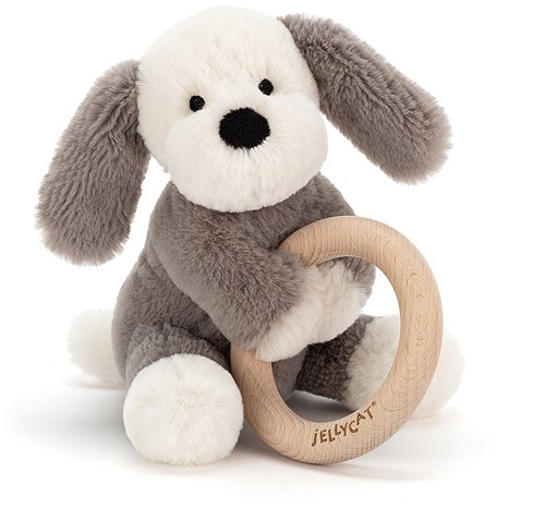 Jellycat Shooshu Puppy Wooden Ring Toy - 14cm